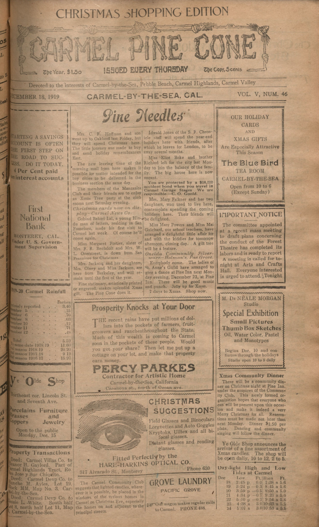 Front page of the                 December 18, 1919, Carmel Pine Cone