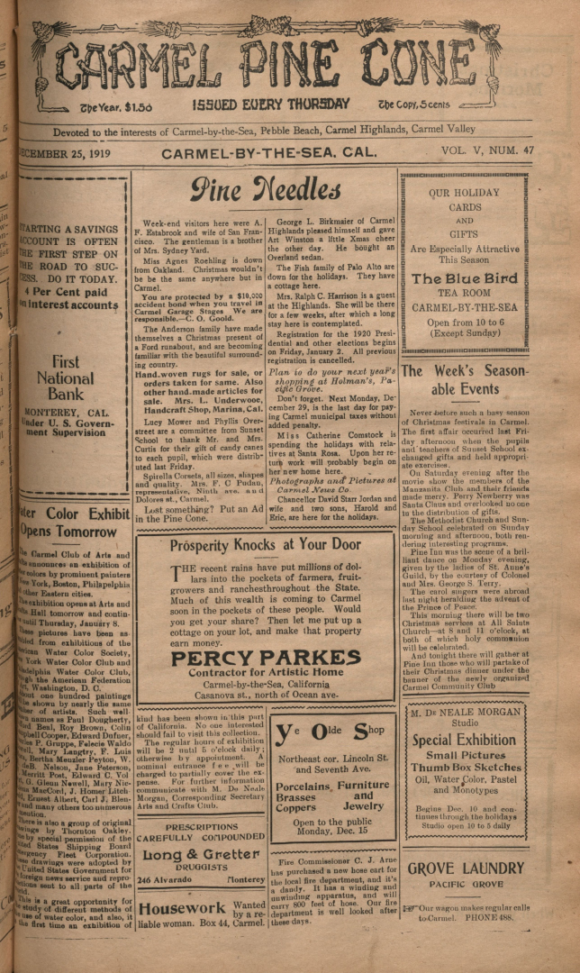 Front page of the                 December 25, 1919, Carmel Pine Cone