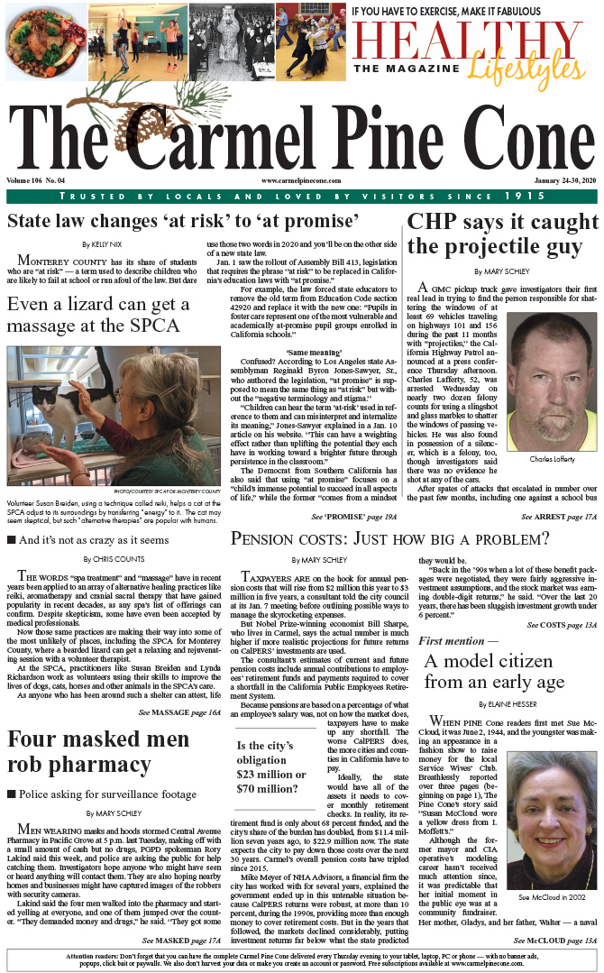 The                 January 24, 2020, front page of The Carmel Pine Cone