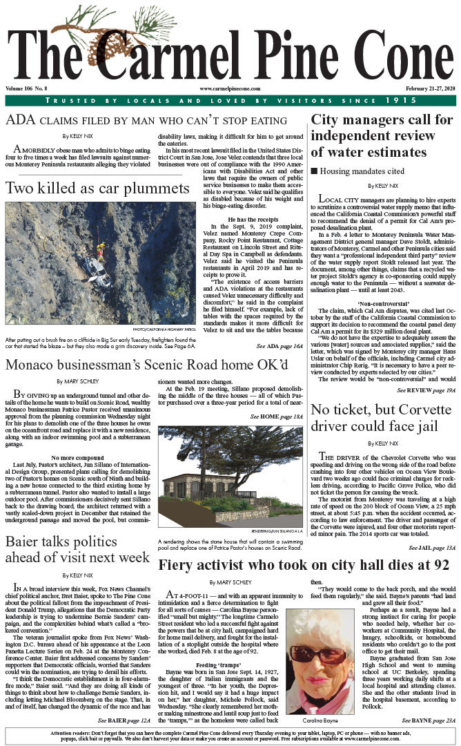 The                 February 21, 2020, front page of The Carmel Pine Cone