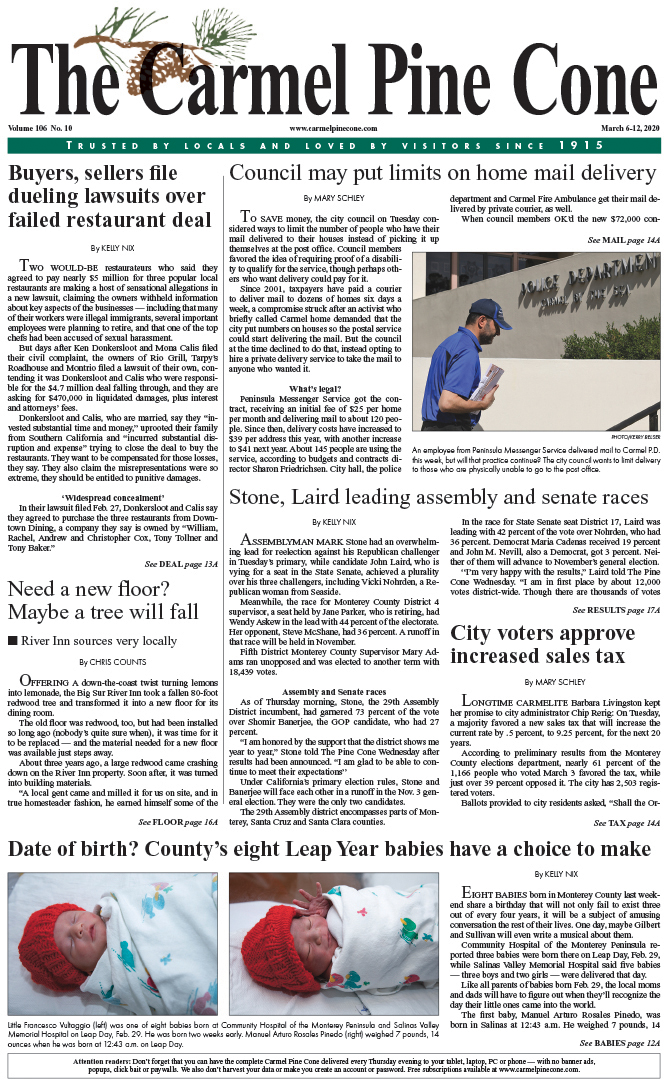 The March                 6, 2020, front page of The Carmel Pine Cone