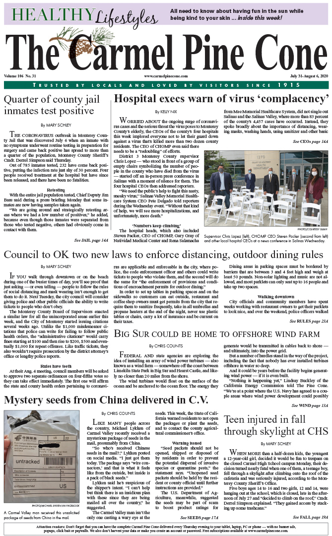 The July                 31, 2020, front page of The Carmel Pine Cone