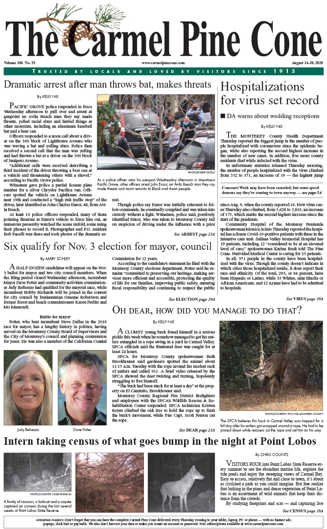 The                 August 14, 2020, front page of The Carmel Pine Cone