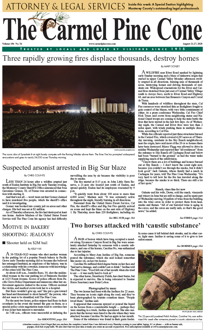 The                 August 21, 2020, front page of The Carmel Pine Cone